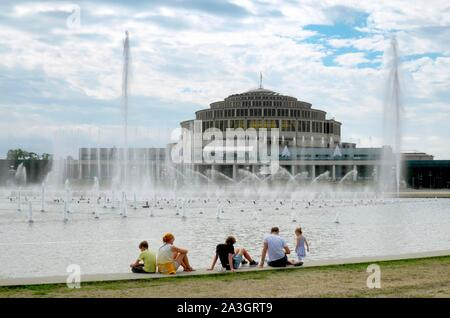 Water games, fountains in front of the Wroclaw century Hall, Wroclaw,Poland - Stock Photo