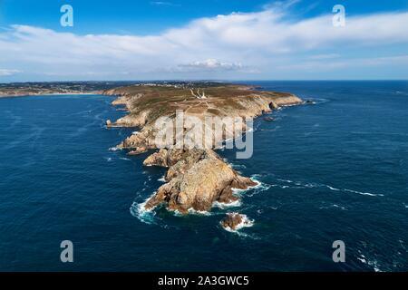 France, Finistere, Mer d'Iroise, Cap Sizun, Plogoff, the Pointe du Raz(vue a?rienne), Classified Great National Site - Stock Photo