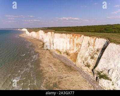 France, Somme, Somme Bay, between the Bois de Cise and Mers les Bains, the Picardy cliffs (aerial view) - Stock Photo