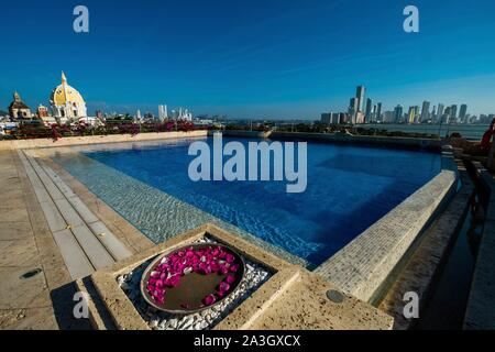 Colombia, Bolivar Department, Cartagena of the Indies, colonial center registered World Heritage by UNESCO, hotel Bastion Cartagena, roof swimming pool - Stock Photo