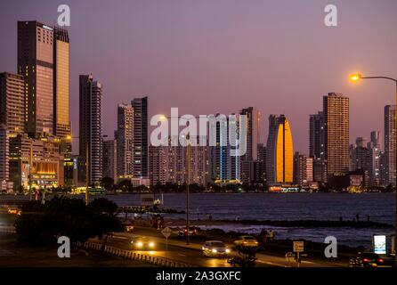 Colombia, Bolivar Department, Cartagena of the Indies, colonial center registered World Heritage bu UNESCO, sea front and buildings of Boca Grande - Stock Photo
