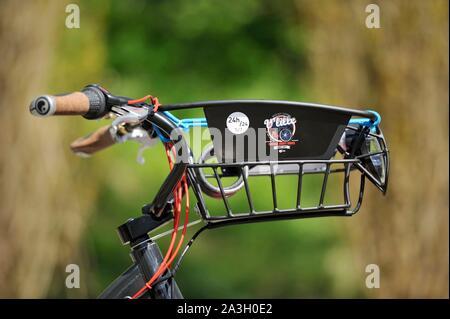 France, Nord, Marcq en Baroeul, vintage V'Lille, handlebar and cart with a logo - Stock Photo