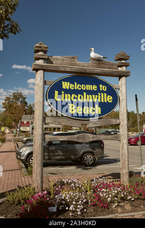 Lincolnville, Maine - September 27th 2019: Entrance to coastal town of Lincolnville off of Route 1. - Stock Photo