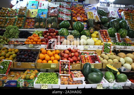 Kuwait City/Kuwait - May 15, 2019: Fruit and vegetables on display at traditional Iranian market in Kuwait City - Stock Photo
