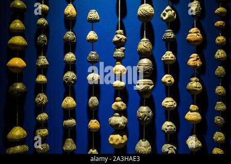 Ecuador, Quito, registered World Heritage by UNESCO, museo Casa del Alabado, or museum of pr?colombian arts, quipu, or counting mode - Stock Photo