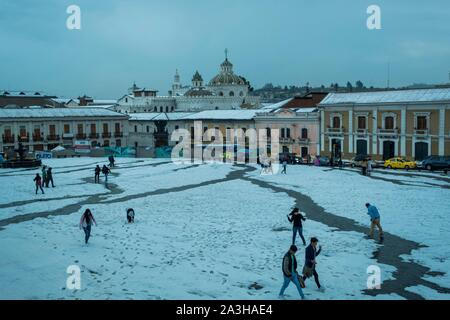 Ecuador, Quito, registered World Heritage by UNESCO, San Francisco place under snow - Stock Photo