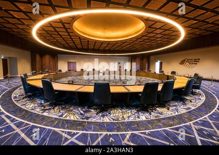Papua-New-Guinea, Papua bay, National Capital District, Port Moresby town, Ela Beach, Apec Haus building, Main conference room where APEC meeting happened - Stock Photo