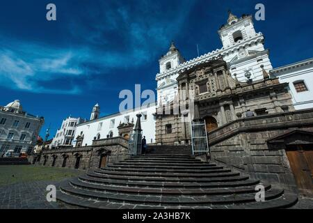 Ecuador, Quito, registered World Heritage by UNESCO, San Francisco place and church - Stock Photo