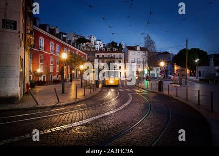 Portugal, Lisbon, District Alfama, Tram number 28 - Stock Photo