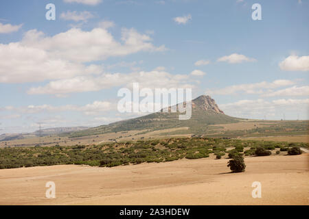 Landscape of Spain viewed from a train - Stock Photo