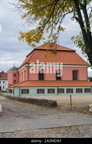 Great Synagogue in Tykocin / Tiktin (Poland) after the  restoration. Second biggest synagogue in Poland established in 1642. - Stock Photo
