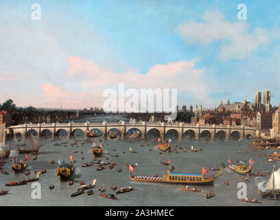 Westminster Bridge, with the Lord Mayor's Procession on the Thames by Canaletto (Giovanni Antonio Canal - 1697-1768), oil on canvas, c.1747 - Stock Photo