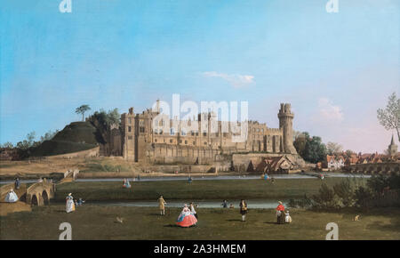 Warwick Castle by Canaletto (Giovanni Antonio Canal - 1697-1768), oil on canvas, c.1748/9 - Stock Photo