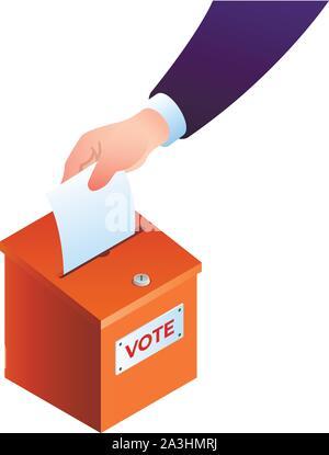 Hand puts ballot in the ballot box concept. Vector illustration - Stock Photo