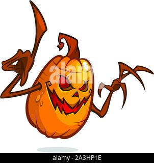 Halloween Pumpkin with wooden hands isolated on white background - Stock Photo