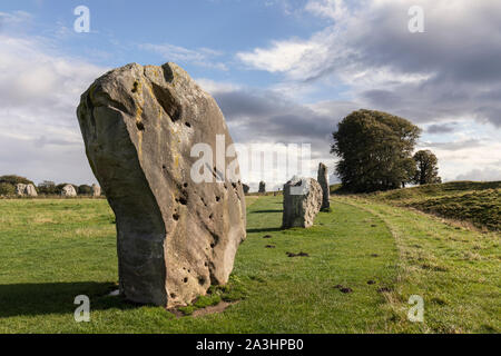 Standing stones at Avebury, Wiltshire a UNESCO World Heritage Site - Stock Photo