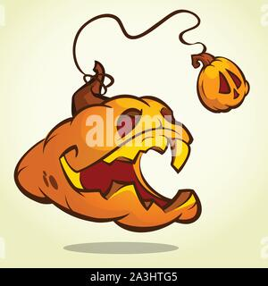 Halloween pumpkin with scary face on white. Vector illustration isolated - Stock Photo