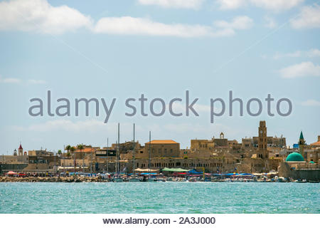 Israel, North District, Upper Galilee, Acre (Akko). View of the harbor and old city of Akko. - Stock Photo