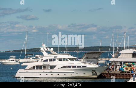 The yacht Paradigm on Long Wharf in Sag Harbor, NY - Stock Photo