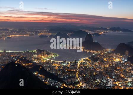 View from Cristo Redentor in Rio de Janeiro, Brazil - Stock Photo