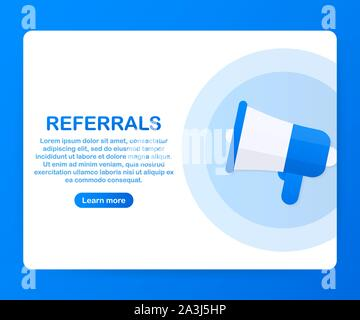 Megaphone Hand, business concept with text referrals. Vector stock illustration - Stock Photo