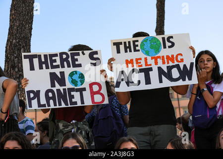 27/09/2019. Climate Action Week. Fridays for Future. School strike for climate. Climate change protest. Piazza della Madonna di Loreto in Rome, Italy.