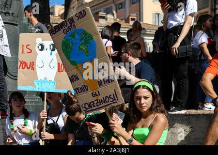 27/09/2019. Fridays for Future. School strike for climate at Piazza della Madonna di Loreto in Rome, Italy