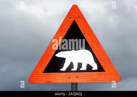 Polar Bear  Warning Sign for all of Svalbard, Longyearbyen, Norway - Stock Photo