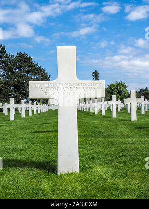 Grave of unknown soldier at Normandy American Cemetery on 75th Anniversary of Normandy Invasion. - Stock Photo