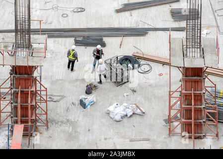 High angle construction workers - Stock Photo