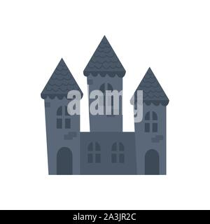 haunted castle halloween isolated icon - Stock Photo