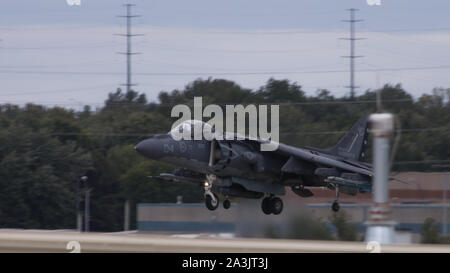 An AV-8B II Harrier attack lands after a training mission with the 175th Fighter Squadron, 114th Fighter Wing at Joe Foss Field, Sioux City, South Dakota Oct. 5, 2019. Marine Attack Squadron 231 and 175th FS, 114th FW are participating in force-on-force training consisting of simulated air-to-air combat and air-to-ground strikes to enhance interoperability and readiness. The Harrier attack jet is from VMA-231. (U.S. Marine Corps photo by Lance Cpl. Gavin Umboh) - Stock Photo