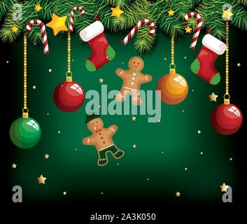 christmas poster with ginger cookies hanging and decoration - Stock Photo