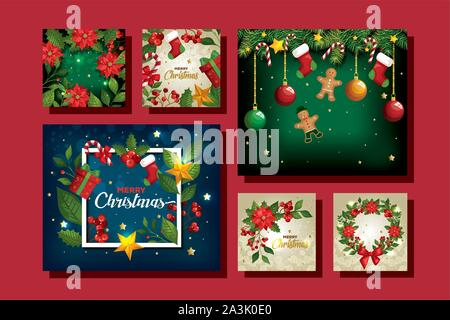 set of merry christmas poster with decoration - Stock Photo