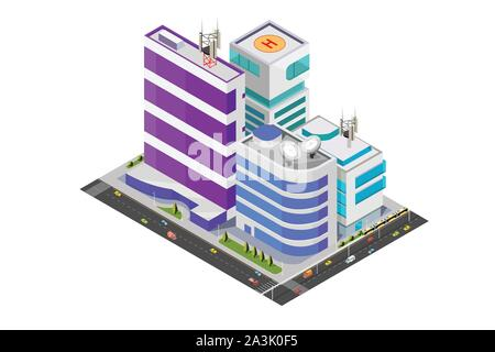 A vector illustration of Isometric Modern Buildings - Stock Photo