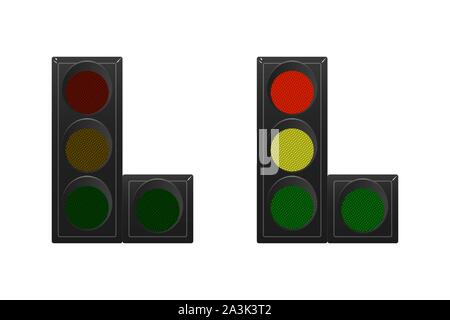 Set of traffic lights. Red, yellow and green. The traffic is straight, right. Vector illustration. Road sign. - Stock Photo