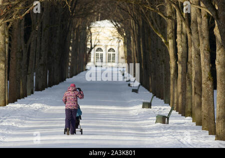 Unidentified woman with her back to the viewer in the distance adjusts her hood and walks along the snowy path of the park with a baby stroller - Stock Photo