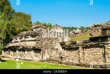 Ruins at El Tajin, a pre-Columbian archeological site in southern Mexico - Stock Photo