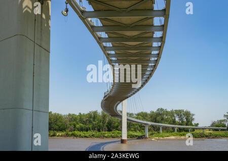 Bob Kerrey Pedestrian Bridge in Omaha, Nebraska - Stock Photo
