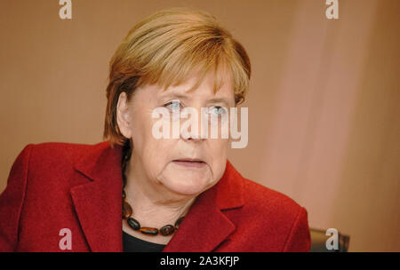Berlin, Germany. 09th Oct, 2019. Chancellor Angela Merkel (CDU) is waiting for the start of the cabinet meeting at the Chancellor's Office. Credit: Michael Kappeler/dpa/Alamy Live News - Stock Photo
