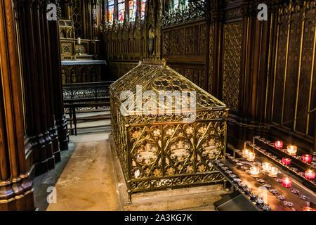Tomb of Saint Genevieve in the church of Saint Etienne du Mont, Paris - Stock Photo