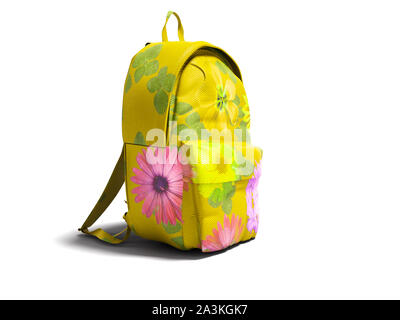 Modern yellow backpack in school for girl and teenager with flowers isolated 3d rendering on white background with shadow - Stock Photo