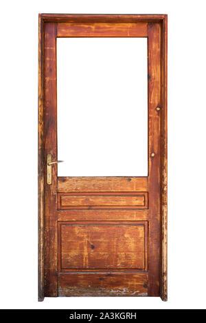 Wooden glazed door isolated on white - Stock Photo