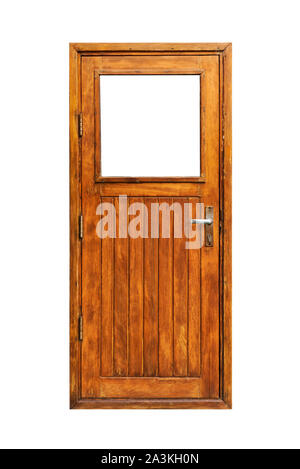 A wooden door with a window and planks isolated on white background - Stock Photo