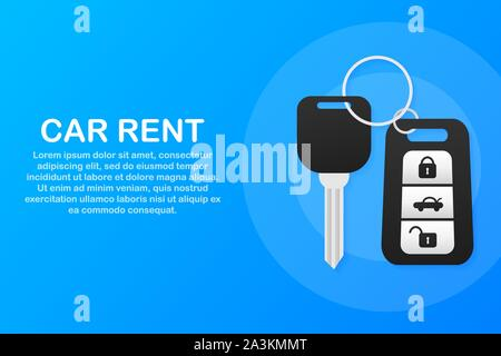 Banner of Rent auto service. Trading cars and rental cars. Web Site, Advertising like Hand and Key. Vector illustration. - Stock Photo
