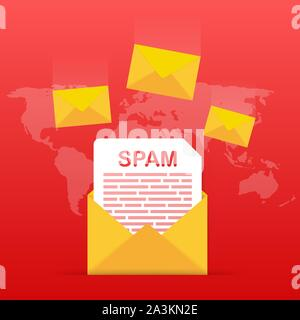 No spam. Spam Email Warning. Concept of virus, piracy, hacking and security. Envelope with spam. Vector illustration. - Stock Photo
