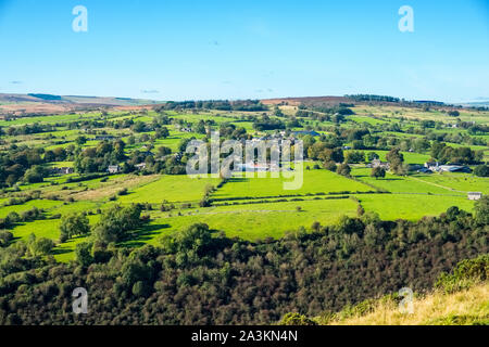 The village of Warslow above the Manifold Valley  in the Staffordshire Moorlands, Peak District National Park, uk - Stock Photo