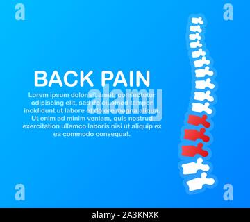 Back pain. Human spine with pain isolated silhouette. Spine pain medical center, clinic, rehabilitation. Vector stock illustration. - Stock Photo