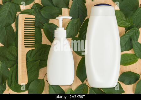 Organic accessoiries and care for hair and body. Blank plastic bottles.Hygiene products. - Stock Photo