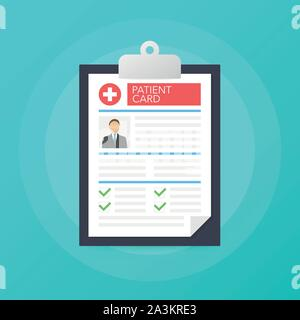 Clipboard in doctors hand. Make notes in patient card. medical report. analysis or prescription concept. Vector stock illustration - Stock Photo